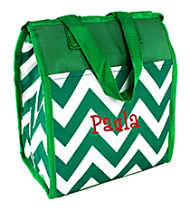 Green Chevron Insulated Lunch Tote #CC18-601-G