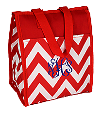 Red Chevron Insulated Lunch Tote #CC18-601-R