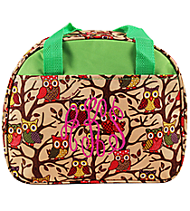 Vintage Owl with Green Trim Bowler Style Insulated Lunch Bag #CC20-501-G
