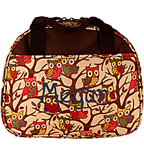 Vintage Owl with Brown Trim Bowler Style Insulated Lunch Bag #CC20-501-C