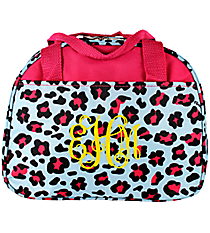Blue and Pink Leopard Bowler Style Insulated Lunch Bag #CC20-510