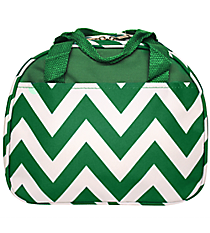 Green Chevron Bowler Style Insulated Lunch Bag #CC20-601-G