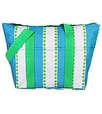 Blue and White Stripes with Green Dots Insulated Lunch Bag #LT15-1328