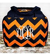 Navy and Orange Chevron Insulated Bowler Style Lunch Bag  #NRQ255-NAVY/OR
