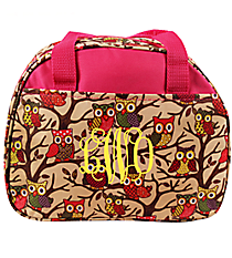 Vintage Owl with Pink Trim Bowler Style Insulated Lunch Bag #CC20-501-P