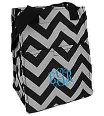 Black and Gray Chevron Insulated Lunch Tote #LT11-1324