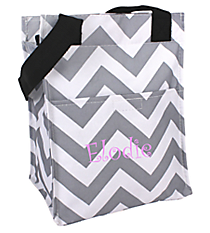 Gray and White Chevron Insulated Lunch Tote #LT11-1325