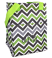 Green and Gray Chevron Insulated Lunch Tote #LT11-1326