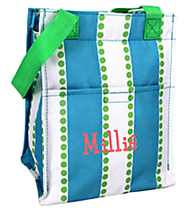 Blue and White Stripes with Green Dots Insulated Lunch Tote #LT11-1328