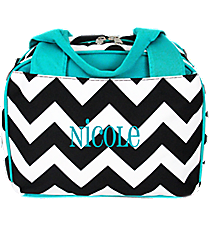 Black Chevron Insulated Bowler Style Lunch Bag with Light Aqua Trim #ZIB255-L/AQUA
