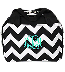 Black Chevron Insulated Bowler Style Lunch Bag with Black Trim #ZIB255-BLACK