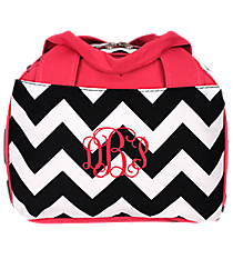 Black Chevron Insulated Bowler Style Lunch Bag with Hot Pink Trim #ZIB255-H/PINK