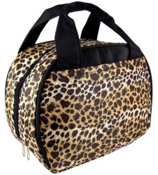 Leopard with Black Trim Bowler Style Insulated Lunch Bag #LT9-2008-BK