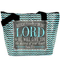 """Delight Yourself in the Lord"" Insulated Lunch Tote #LUNCH-FTH-DLT"