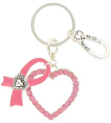 Pink Ribbon and Crystal Heart Keychain #AK0116-ASP