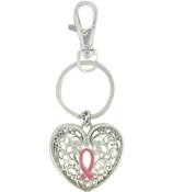 Pink Ribbon on Textured Silvertone Heart Keychain #AK0136-AS