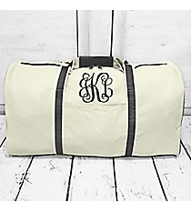 "Canvas Duffle Bag with Gray Trim 21"" #M632L-GRAY"