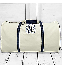 "Canvas Duffle Bag with Navy Trim 21"" #M632L-NAVY"