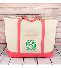 Canvas Boat Tote with Coral Trim #M831-CORAL