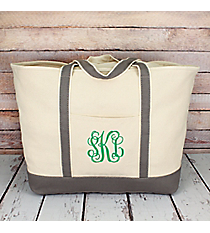 Canvas Boat Tote with Gray Trim #M831-GRAY