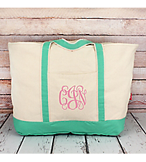 Canvas Boat Tote with Mint Trim #M831-MINT