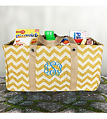 Gold Chevron Jute Collapsible Haul-It-All Basket #MAG401-GOLD/WH