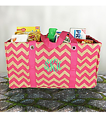 Hot Pink Chevron Jute Collapsible Haul-It-All Basket #MAG401-HPINK