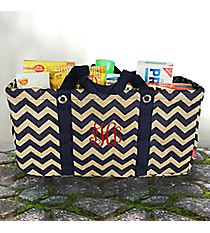 Navy Chevron Jute Collapsible Haul-It-All Basket #MAG401-NAVY
