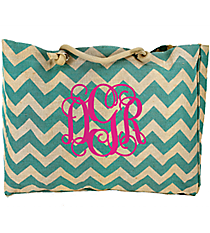 Large Aqua Chevron Jute Shoulder Tote #MAG634-AQUA