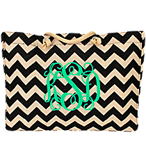 Large Black Chevron Jute Shoulder Tote #MAG634-BLACK