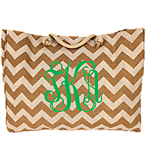 Large Khaki Chevron Jute Shoulder Tote #MAG634-KHAKI