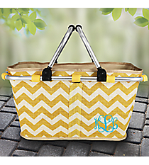 Gold Chevron Jute Collapsible Market Basket #MAG657-GOLD/WH