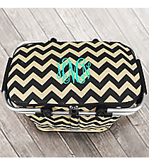 Black Chevron Jute Collapsible Insulated Market Basket with Lid #MAG658-BLACK