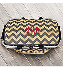 Gray Chevron Jute Collapsible Insulated Market Basket with Lid #MAG658-GRAY