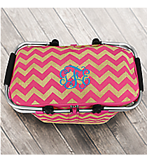 Hot Pink Chevron Jute Collapsible Insulated Market Basket with Lid #MAG658-HPINK