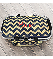 Navy Chevron Jute Collapsible Insulated Market Basket with Lid #MAG658-NAVY