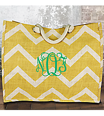 Gold and White Chevron Juco Box Tote #MAG675-GOLD/WH