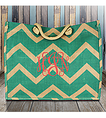 Mint Chevron Juco Box Tote #MAG675-MINT