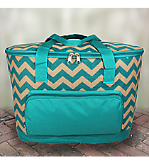Aqua Chevron Jute Cooler Tote with Lid #MAG89-AQUA