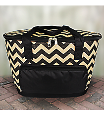 Black Chevron Jute Cooler Tote with Lid #MAG89-BLACK