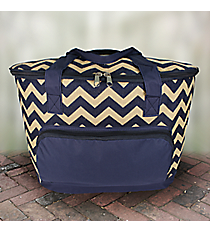 Navy Chevron Jute Cooler Tote with Lid #MAG89-NAVY