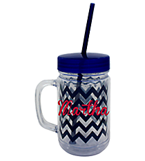 Navy Chevron 22oz. Double Wall Mason Jar Tumbler with Straw #F133981
