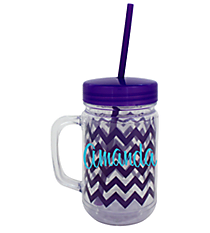 Purple Chevron 22oz. Double Wall Mason Jar Tumbler with Straw #F133982