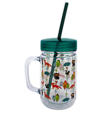 Woodland Animals 22oz. Double Wall Mason Jar Tumbler with Straw #F134835
