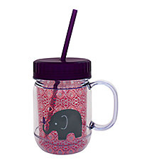 Kid's Elephant 20oz. Double Wall Mason Jar Tumbler with Straw #F135004