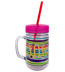 Watercolor Stripe 22oz. Double Wall Mason Jar Tumbler with Straw #F135838