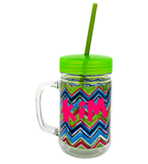 Watercolor Chevron 22oz. Double Wall Mason Jar Tumbler with Straw #F135843