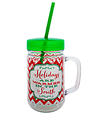 """Holidays are Warmer"" 22oz. Double Wall Mason Jar Tumbler with Straw #F133869"