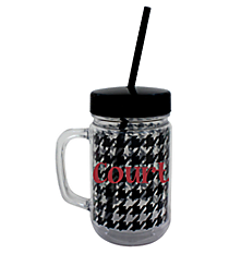 Houndstooth 22oz. Double Wall Mason Jar Tumbler with Straw #F133977