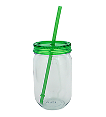 Green 22 oz. Fiesta Mason Jar with Straw #TM3702-GN-B